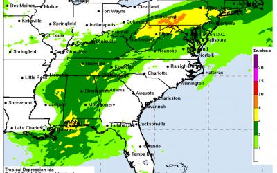 Week #15  Hurricane Season Series: Heavy RAIN – Remnants of Hurricane Ida moving from Louisiana to New England